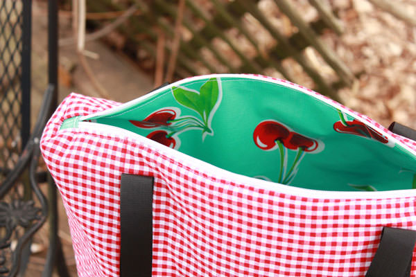 Inside the red gingham Insulated Lunch Bag - Andrie Designs