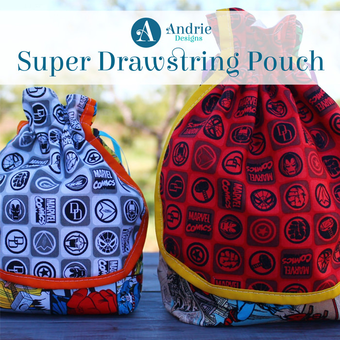 Super Drawstring Pouch - Pattern Inspiration - Andrie Designs
