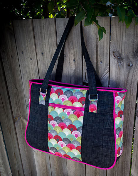 Beautiful Tula Pink and dark grey Goin' Uptown Tote - Andrie Designs