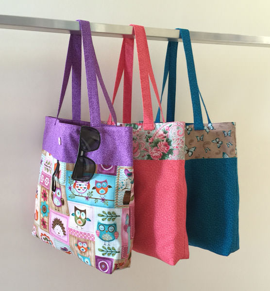 Trio of Reusable Grocery Bags - Andrie Designs