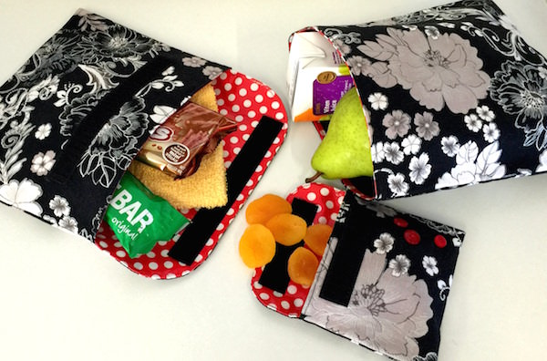 Classic black floral set - Reusable Snack Bag Pattern - Andrie Designs
