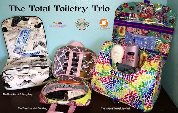 The Total Toiletry Trio - a fantastic toiletry bag collaboration between two pretty poppets, RLR Creations and Little Moo Designs
