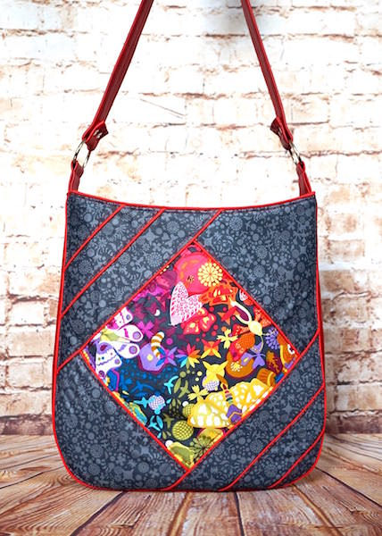 Alison-Glass-themed with red piping Feature Me Everyday Tote - Andrie Designs
