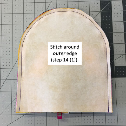 Stitch around outer edge - Adventure Time Backpack - Step 14 - Andrie Designs
