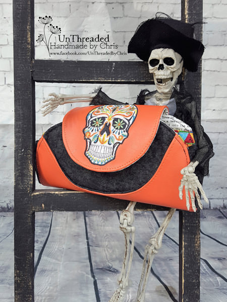 Skull orange and black Cleo Everyday Wallet - Andrie Designs