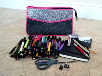 This version is all about art supplies! Carry All Flexi Clutch - Andrie Designs