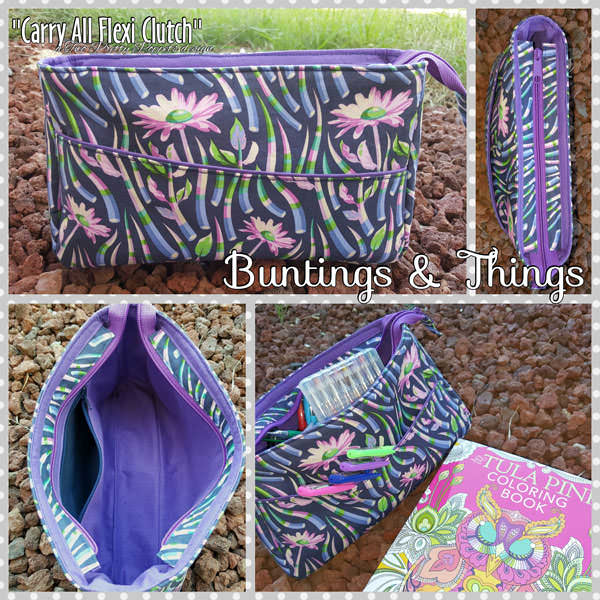 Stunning purple Tula Pink-themed Carry All Flexi Clutch - Andrie Designs