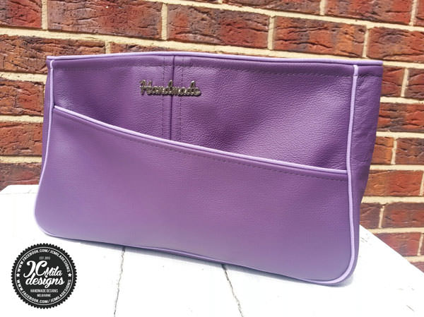 Love this purple leather Carry All Flexi Clutch - Andrie Designs