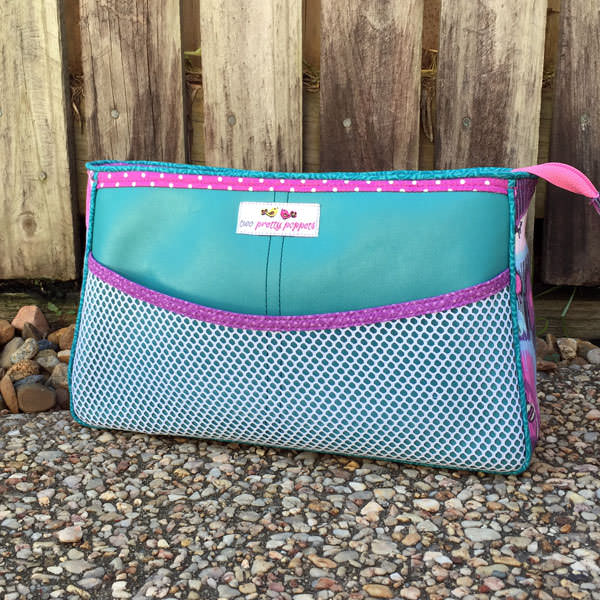 Back of the teal and purple Carry All Flexi Clutch - Andrie Designs