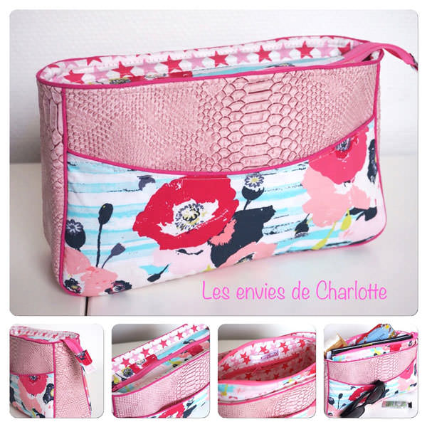 Bright pink with flowers Carry All Flexi Clutch - Andrie Designs