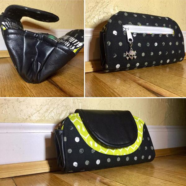 Black, skulls and vinyl Cleo Everyday Wallet - Andrie Designs