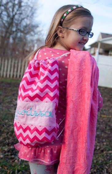 Gotta have the pink towel to match! Drawstring Wet Bag - Andrie Designs