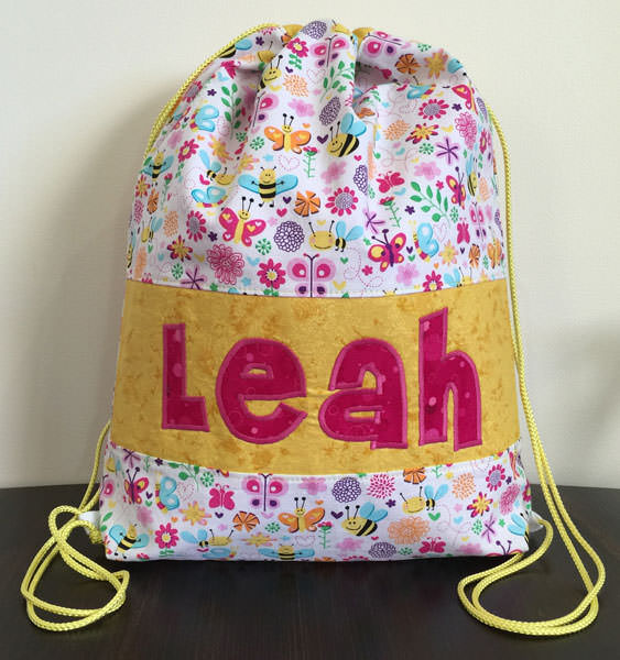 Yellow garden-themed Drawstring Wet Bag - Andrie Designs