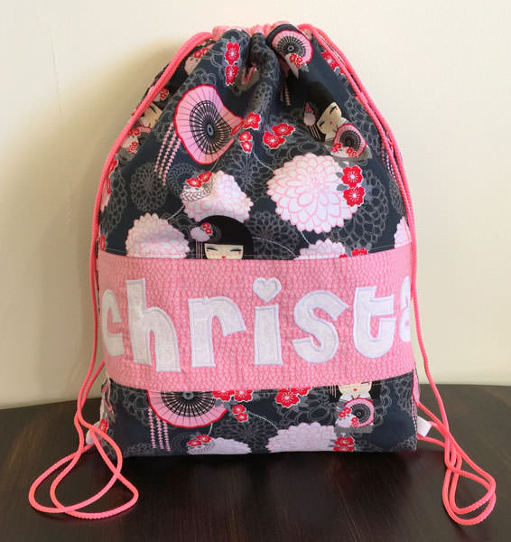 Pretty pink and oriental Drawstring Wet Bag - Andrie Designs