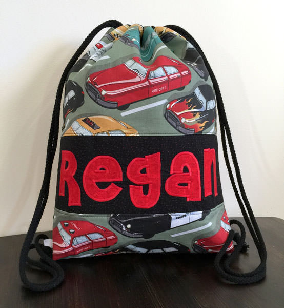 Vroom vroom! Drawstring Wet Bag - Andrie Designs