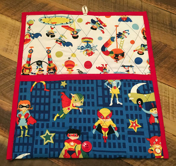 Inside the super hero Essential Diaper Clutch - Andrie Designs