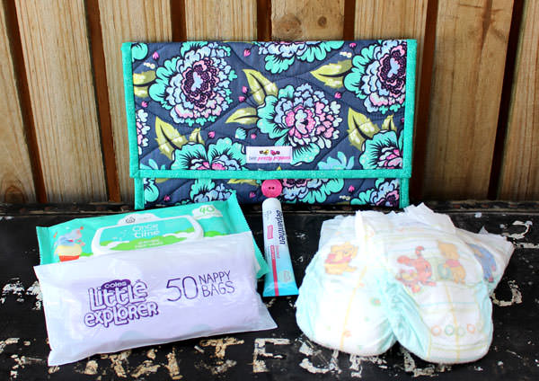 Floral and teal Essential Diaper Clutch set - Andrie Designs
