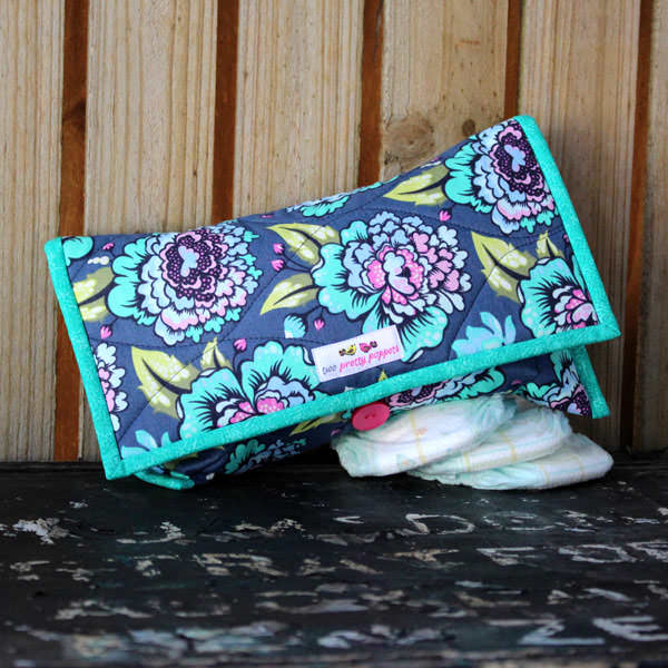 Beautiful floral and teal Essential Diaper Clutch - Andrie Designs