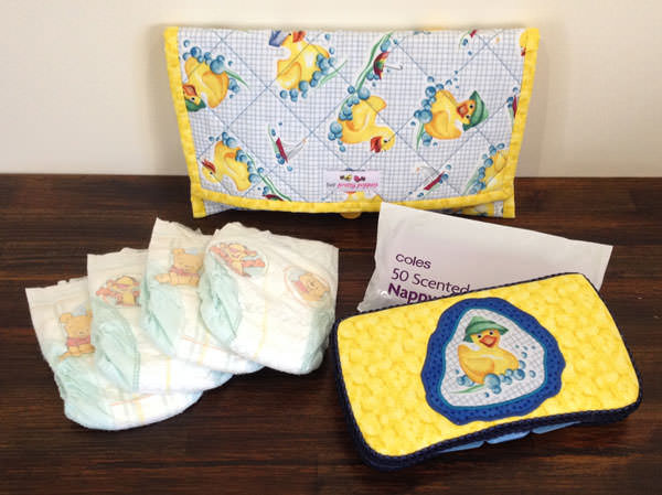 Full yellow ducky Essential Diaper Clutch set - Andrie Designs