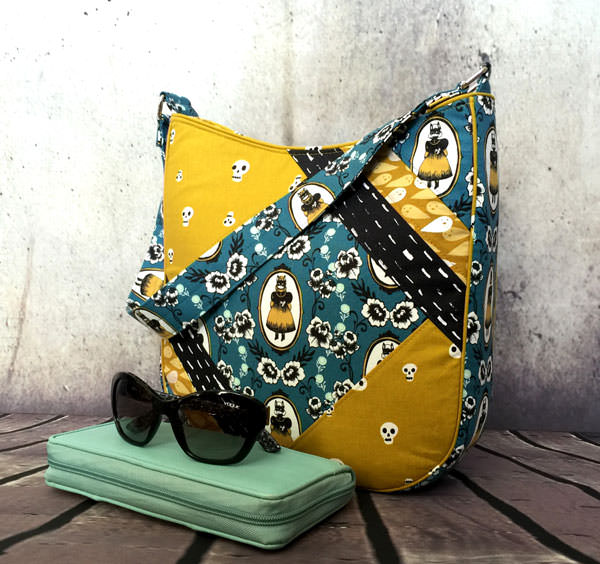 Beautiful mustard and teal Feature Me Everyday Tote - Andrie Designs