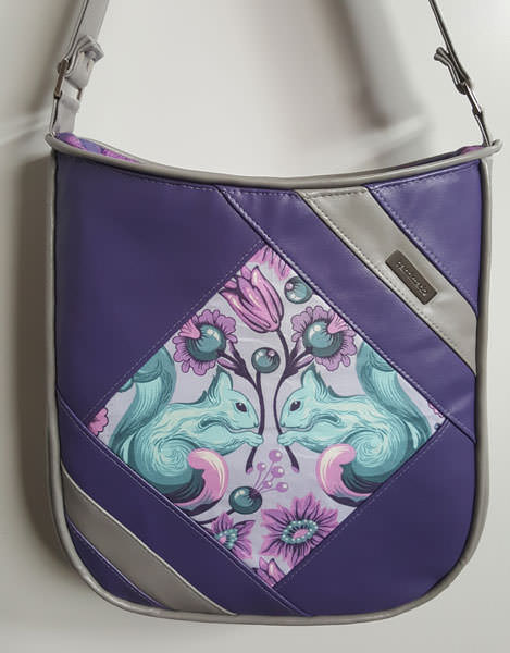 Purple and grey faux leather Feature Me Everyday Tote - Andrie Designs