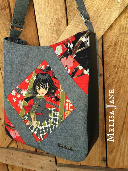 Oriental in red, grey and black Feature Me Everyday Tote - Andrie Designs