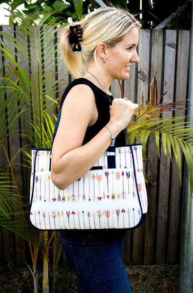 Cream with arrows Goin' Uptown Tote - Andrie Designs