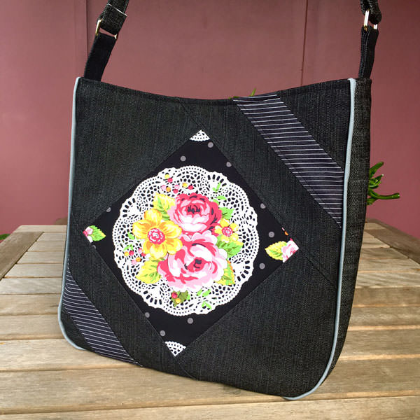 Beautiful black and floral Feature Me Everyday Tote - Andrie Designs