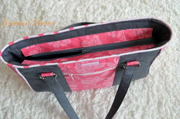 Recessed zipper on the pretty 'n pink Goin' Uptown Tote - Andrie Designs