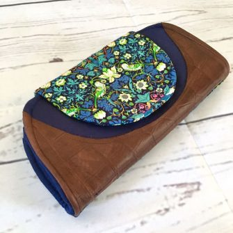 Navy and brown leather Cleo Everyday Wallet - Andrie Designs