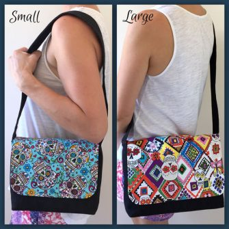 Size options for the Good-To-Go Messenger Bag - Andrie Designs