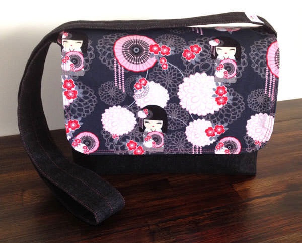 Grey and pink oriental Good-To-Go Messenger Bag - Andrie Designs