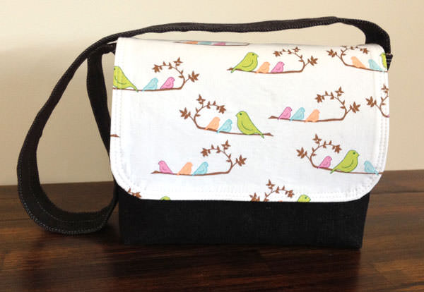 White with birds Good-To-Go Messenger Bag - Andrie Designs