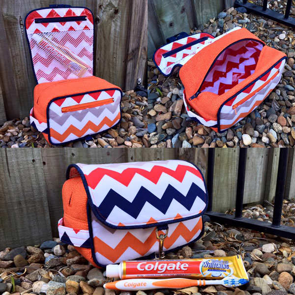 Chevron and orange Hang About Toiletry Bag - Andrie Designs