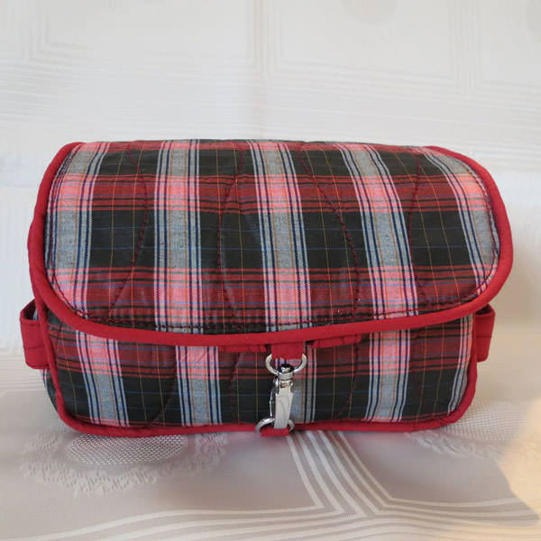 Classic red plaid Hang About Toiletry Bag - Andrie Designs