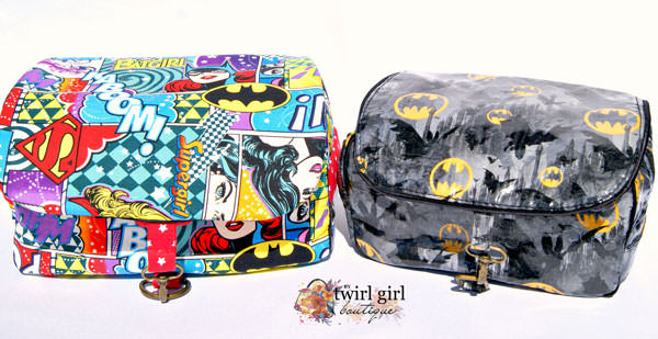 Pair of SUPER-themed Hang About Toiletry Bags - Andrie Designs