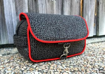 Grey with red piping Hang About Toiletry Bag - Andrie Designs
