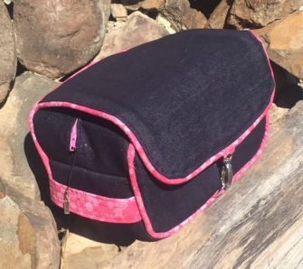 Denim and pink Hang About Toiletry Bag - Andrie Designs