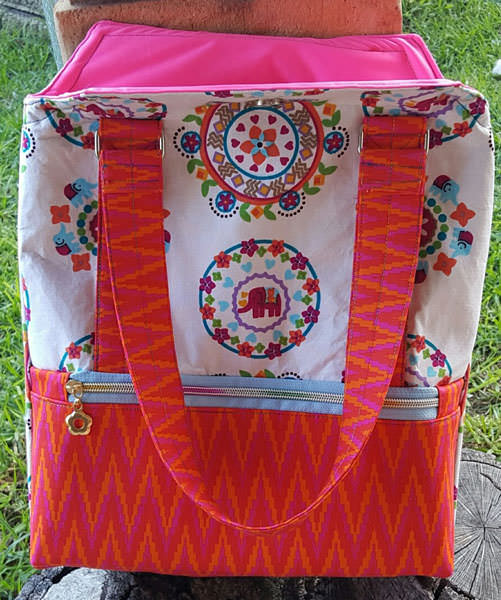 Pretty orange and pink version! Heavy Hauler Tote Bag - Andrie Designs