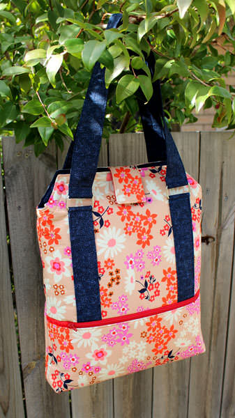 Beautiful floral and navy Heavy Hauler Tote Bag - Andrie Designs
