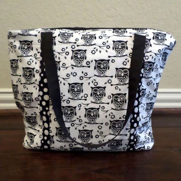 Cute black on white owls Insulated Lunch Bag - Andrie Designs