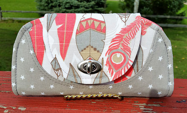 Grey and feathers including the turn lock hack Cleo Everyday Wallet - Andrie Designs