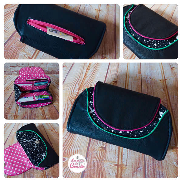 Black leather and piping! Cleo Everyday Wallet - Andrie Designs