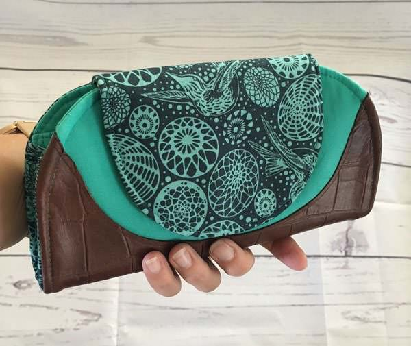 Mint green and brown leather Cleo Everyday Wallet - Andrie Designs