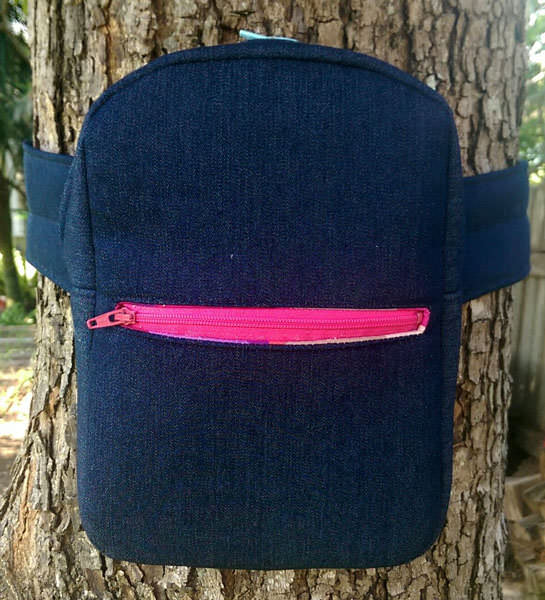 Denim with pink zipper Little Freehand Pack - Andrie Designs