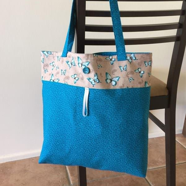 Blue butterflies Reusable Grocery Bag - Andrie Designs