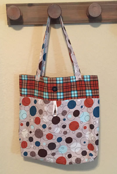 Plaid and spots Reusable Grocery Bag - Andrie Designs
