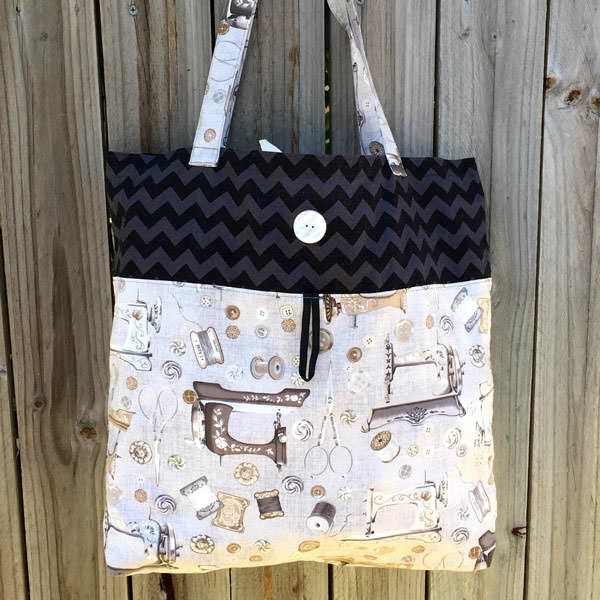 Chevron and grey sewing notions Reusable Grocery Bag - Andrie Designs