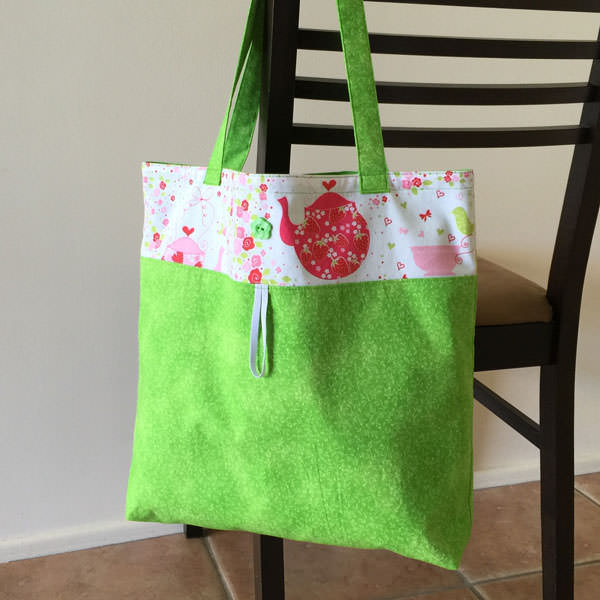 Lime green tea party Reusable Grocery Bag - Andrie Designs