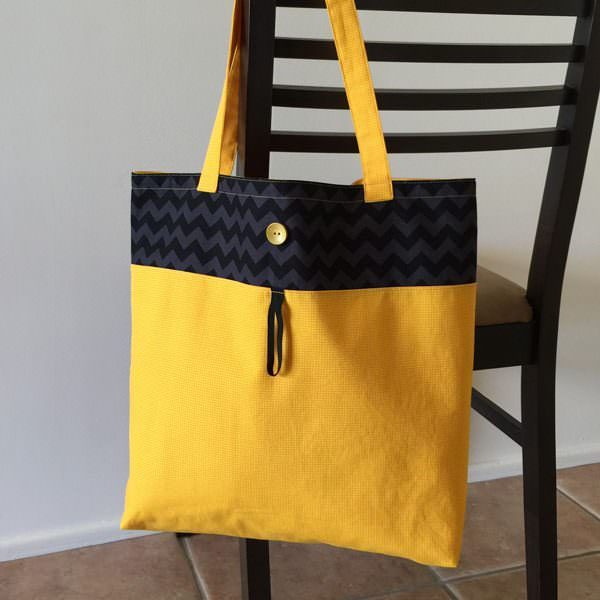 Chevron and yellow Reusable Grocery Bag - Andrie Designs
